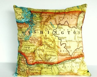SALE SALE SALE Decorative Throw pillow map pillow cover, cushion Washington State pillow cover,organic cotton map cushion cover, 16 inch 41c