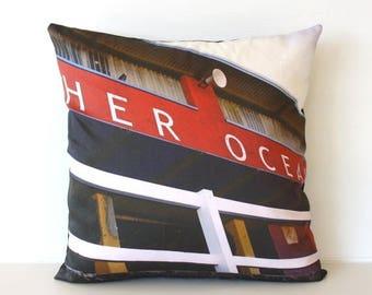 SALE SALE SALE Cushion cover, decorative pillow, throw cushion Merewether Ocean baths, Newcastle, Australia - organic cotton cushion cover