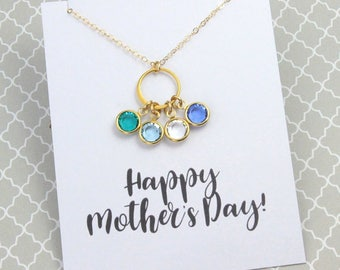 3 Day SALE Birthstone Eternity Necklace, Silver or Gold, Gold Link Necklace, Birthday Gift, With/Without Card