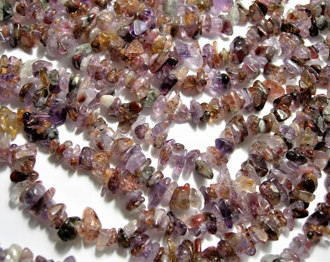 Super seven  - 8mm  chip stone - 16 inch strand - 110 beads - A Quality - PSC414