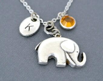 Elephant necklace pendant-Initial birthstone-Personalized elephant jewelry for women-Elephant necklace silver-Baby elephant-Good lucky charm