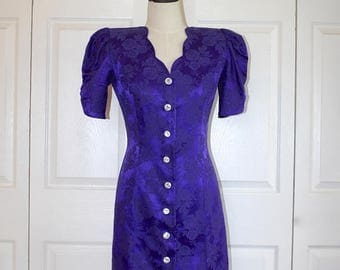 50% OFF SALE 1980s Purple Brocade Wiggle Sheath Dress . Vintage Curvy 80s Party Dress . Rhinestone Buttons . All That Jazz . Size 7/8 USA