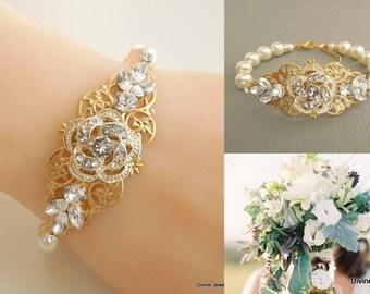 bridal bracelet, pearl rhinestone Bracelet, Statement Bridal Bracelet, Wedding Rhinestone Bracelet, swarovski crystal bracelet, ROSELANI