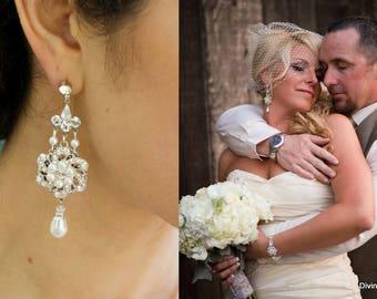 bridal earrings, pearl earrings, pearl rhinestone earrings, wedding rhinestone earrings, chandelier earrings, wedding pearl earrings, AMELIA