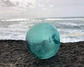 Japanese Glass Fishing Float, Alaska Beachcombed, Net Marks