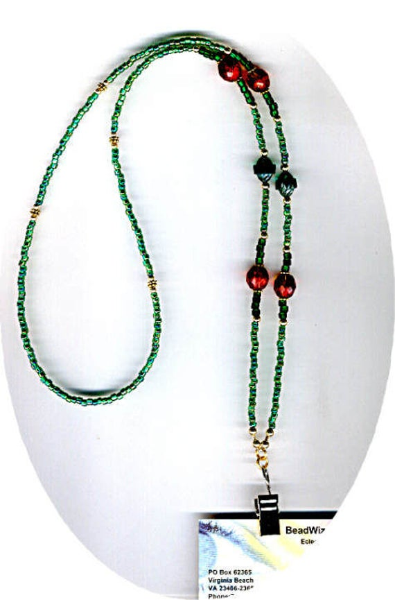 Delightful Red Faceted Glass Beads & Green Cathedral Bead ID Badge Lanyard or Eyeglass Chain
