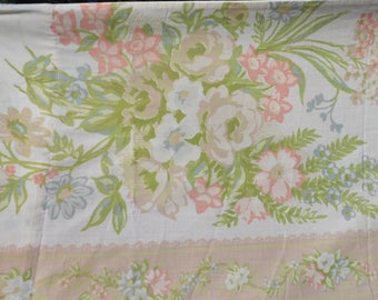 St. Mary's vintage pillowcase standard pillowcase floral with roses and more in pinks, white, blue, yellow with green leaves