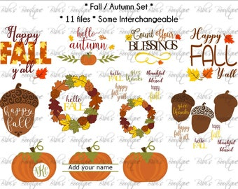 Fall SVG Set * Autumn SVG set * Pumpkin * Fall Leaves * Acorn * Happy Fall y'all * Count Your Blessings * Hello Autumn* Exclusive!!!