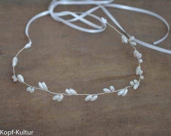 Bridal tiara Bridalhalo bridalhairvine Silver White Rice Pearls Wedding Headpiece