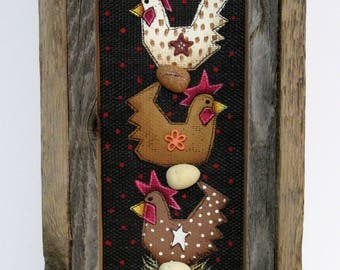 Three Folk Art Chicken Sitting on an Egg, Framed in Reclaimed Handcrafted Barn Wood Frame, Stacked Chickens, Chicken and Eggs, Hand Painted