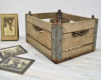 Wooden Milk Crate - rustic storage for the farmhouse - Wood Dairy Crate