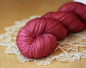 Hand Dyed Yarn / Fingering Weight / Rose Red Magenta Deep Pink Desire Superwash Merino Cashmere Nylon / Gifts for Knitters Crocheters