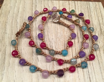 Multi colored vibrant dyed Agate crocheted Bohemian Chic Jewelry Every day wear Simple and fun