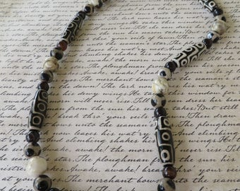 Black And Ivory African Bone Beads Agate And Feldspar Beaded Necklace