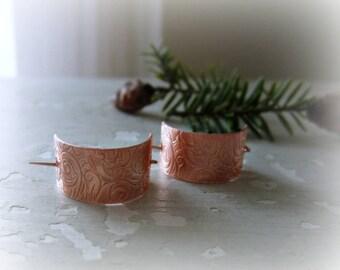 Little Copper Hoops, Copper Hoop Earrings, Metalwork Earrings, Copper Jewelry, Hoop Earrings, Filigree Earrings, Patterned Earrings