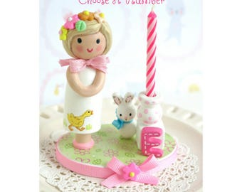 Candle Cake Topper, Birthday Candle, First Birthday Girl, Finger Puppet Cake Topper, Little Girl Second Birthday,Third Birthday,4th Birthday