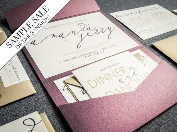 Modern Calligraphy Wedding Invitations Purple Wedding – Gold and Purple Wedding Invitations