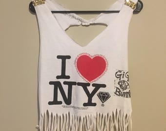 I Love NY, tank top, upcycled, studded, fringed, diamond patch, hand printed, wearable art