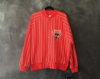 80s 90s Chicago Red Bulls Red Cotton Striped Varsity Snap Front Bomber Jacket Size XL/L