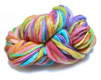 Thick and Thin Merino Handspun Yarn, Rainbow Single Ply Yarn, Kettle Dyed Handspun, Thick and Thin Slub Rainbow Yarn, 84 Yards