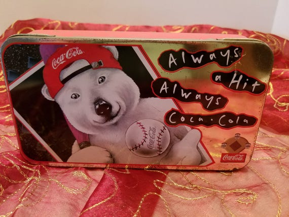 Coca Cola Polar Bear Baseball Collectible Tin Container - Coke Collectible - Trinket Box - Storage Container - Coke Display - 1997