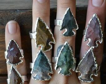 XMAS IN JULY Arrowhead Agate Rings /// Electroformed Gemstones /// Silver