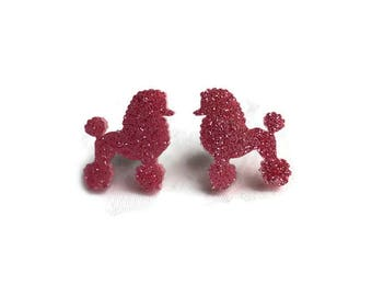 Pink Glitter Poodle Earrings - Retro Sparkly Jewelry - 1950s costume jewelry - Acrylic Nickel free earrings - Rockabilly, Pinup, Dog