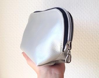 Silver Leather Make-Up Bag