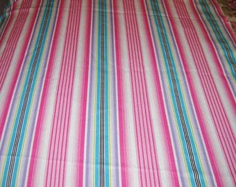 Cotton Blend Bright Stripe Stretch Fabric, Pink, White and Blue, 2-1/2 yards