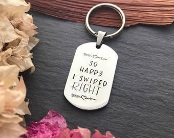 Valentines Day Gift for Him - So Happy I Swiped Right - Valentines Day Gifts for Boyfriend - Hand Stamped Keyring - Australia