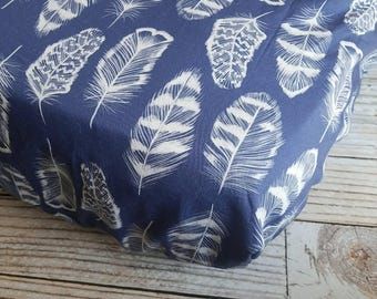 Fitted Crib Sheet - Baby Crib Sheet - Feather Crib Sheet - Boho Baby Sheet - Navy Crib Sheet - Toddler Sheet - Boho Changing Pad Cover