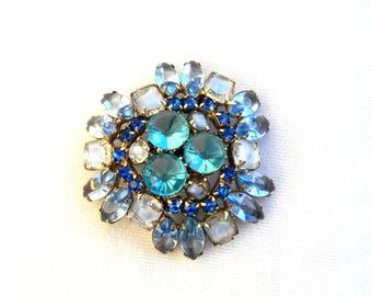 "Vintage Large Teal Blue Art Glass & Rhinestone Brooch - Open Back - Bridal Brooch Wedding - Unsigned Julianna Delizza Elster 2 1/4"" x 2 3/8"""