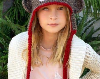 Sock Monkey Hat - Halloween Costume - Baby Hat - Child Hat - Adult Hat - Earflap Hat - Christmas Gift