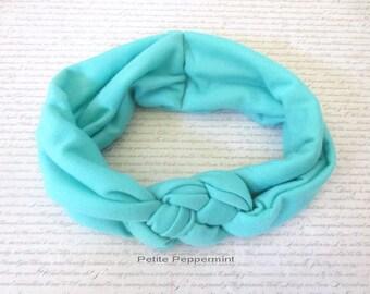 Aqua Baby Headband, Baby head wrap, knotted braided baby headband, baby turban, baby headband cotton, toddler headband, toddler head wrap