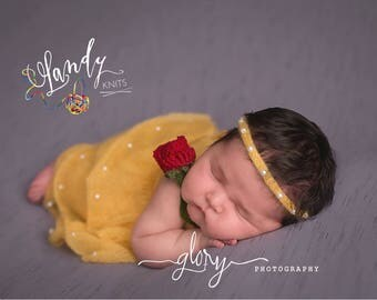 Belle dress, newborn photo prop, baby prop, infant prop, baby girl, baby shower gift, princess dress, photography props, princess Belle