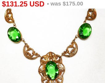 Antique Victorian Necklace - Green Glass Faceted Rhinestones - Gold Tone Panels - Art Nouveau - Art Deco - European - Late 1800s Early 1900s