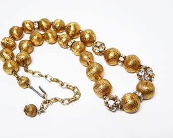 "Brushed Gold tone Beaded Necklace - Clear Rhinestone Encrusted Beads - Rondell Spacer Beads - Choker Length 17"" - Vintage 1950's 1960's"