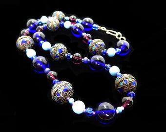 Chinese Enamel Beaded Necklace - Cloisonne Style - Cobalt Blue, Purple Amethyst Tone, & Aqua Blue Tone Beads Vintage 1950s 1960s Asian Bead