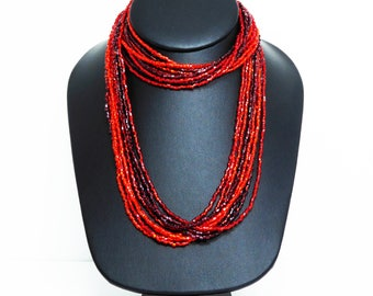 Red and Orange Necklace - Multi Strand Seed Beads - Vintage Retro Jewelry - Vintage 1980's Torsade Necklace - 9 Strand Necklace