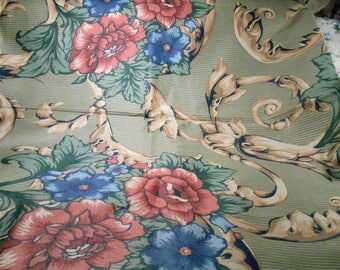 Vintage Fabric Shabby Cottage Remnant  Pink Green blue