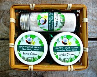 COCONUT GIFT BASKET: Foaming Sugar Scrub, Shea Body Cream and Foaming Bath Salts. Gift from Hawaii, Hawaiian Gift Basket.