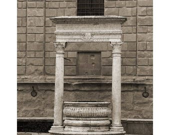 """Fine Art Sepia Photography of Well in Pienza Tuscany Italy - """" The Old Well in Pienza"""""""