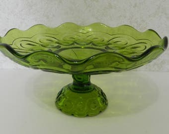 """L.E. Smith Antique Green Moon and Stars Rolled Edge Compote 10"""" #4206"""