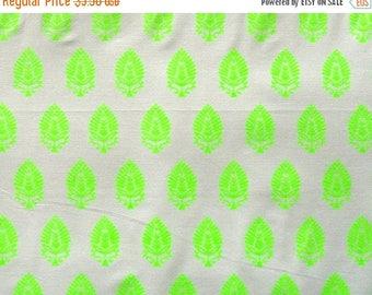 ON SALE Cotton Fabric Print - Neon green indian motif print - half yard - ctnp269