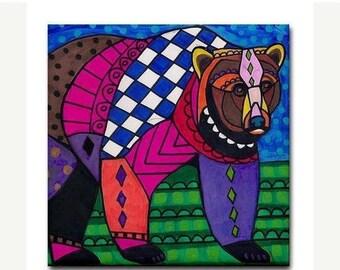 45% Off Today- Black Bear Folk Art Ceramic Tile  Animal Tile Coaster  Modern Unique Gift Colorful Coaster Modern Art (HG166)