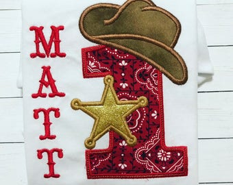 Cowboy First Birthday shirt, First Birthday Shirt, Birthday shirt, Western 1st Birthday Shirt