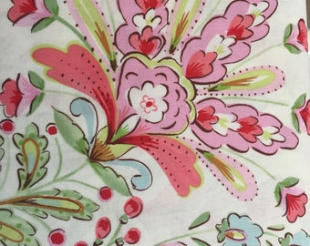 Pretty Little Things Emma Cream PWDF133.Cream Dena Fishbein Fabric for Free Spirit Pink Green Blue