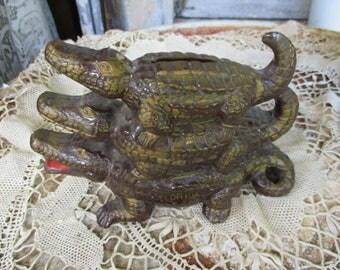 Vtg Triple Stacked Ceramic Alligator Family Florida Souvenir Bank