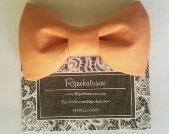 Handmade Baby Boy Infant Formal Bow Tie pin strapless no choke safe pins to garment shirt High Quality cotton satin custom colors orange