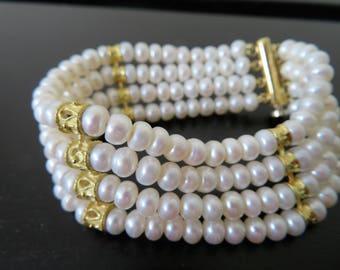 VINTAGE 18Kt gold and Pearls Bracelet